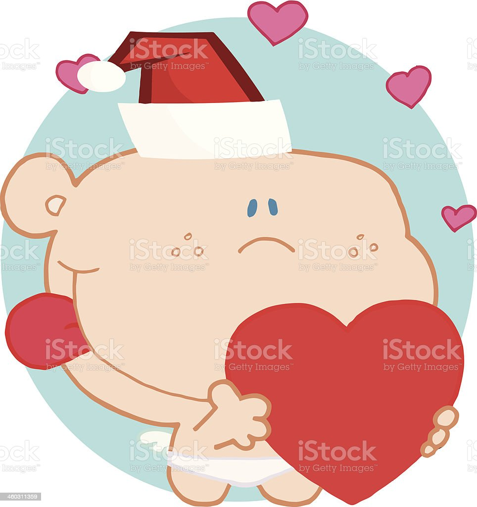 Friendly Cupid Holding A Heart With Background royalty-free stock vector art