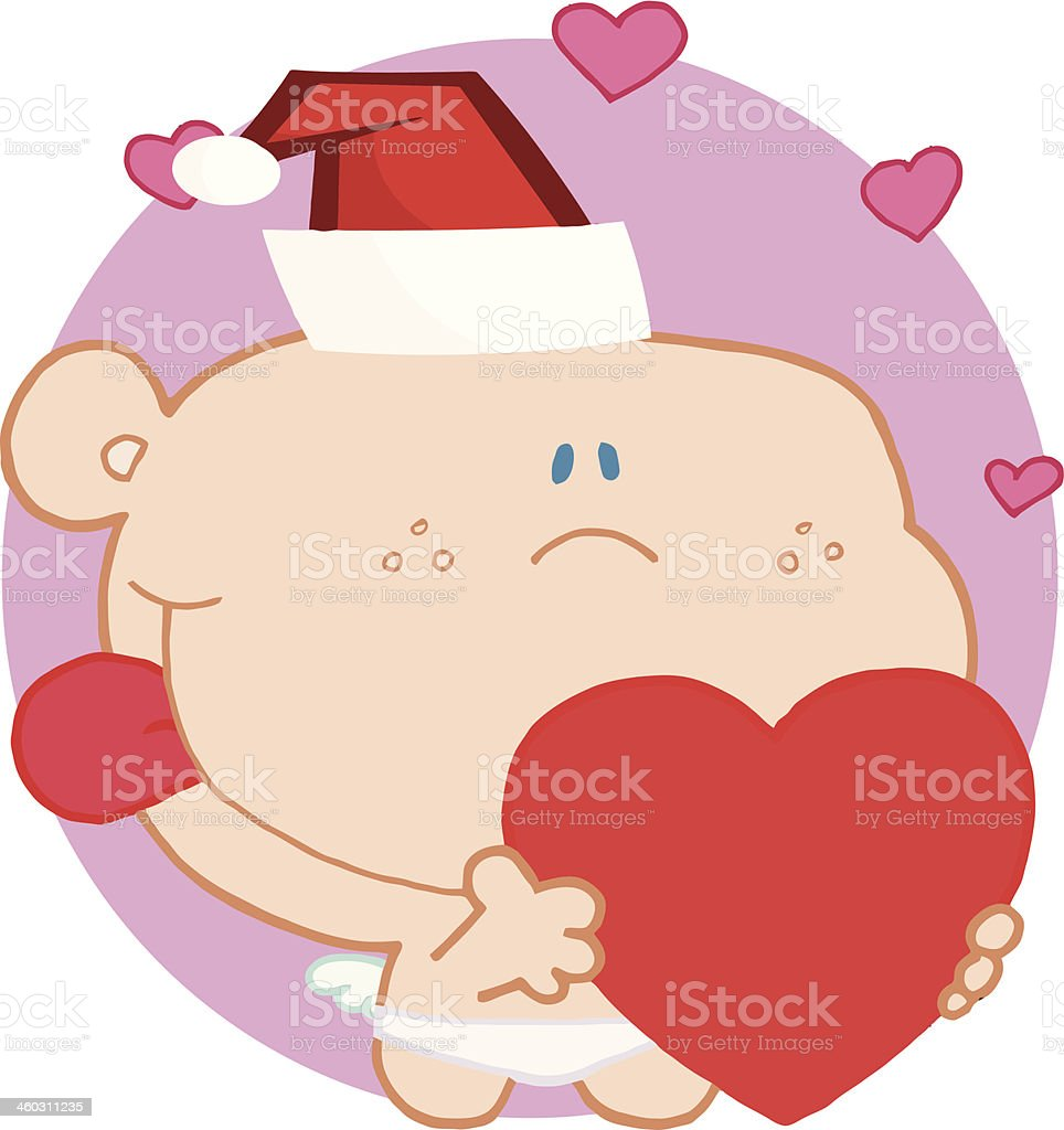 Friendly Cupid Holding A Heart With Pink Background royalty-free stock vector art