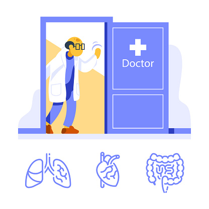 Friendly doctor at open door welcoming, visit specialist, annual health check up, medical examination, internal organs diagnostic