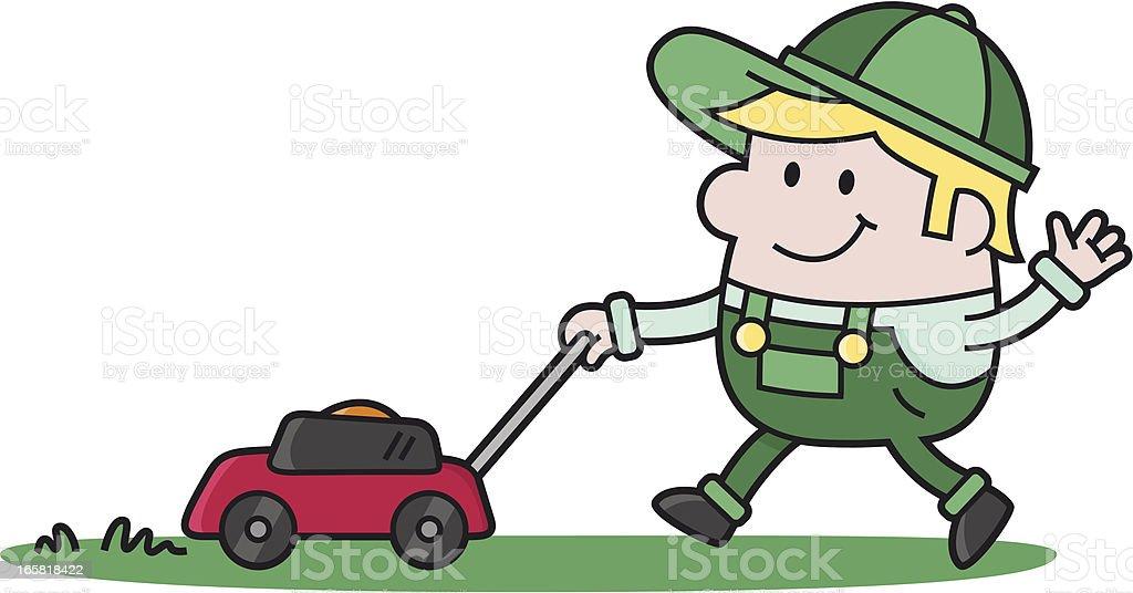 royalty free cartoon of a man cutting grass clip art vector images rh istockphoto com grass cutting clip art free grass cutting clip art free