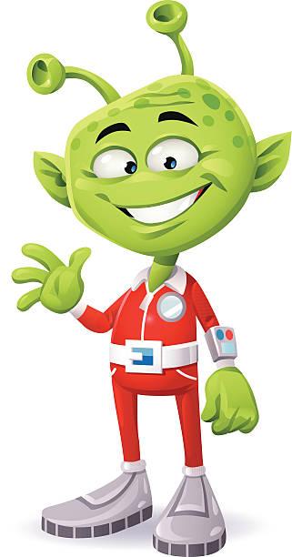 stockillustraties, clipart, cartoons en iconen met friendly green alien - buitenaards wezen