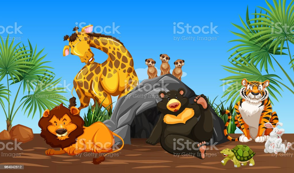 Friendly Happy Animals in Nature - Royalty-free Animal stock vector