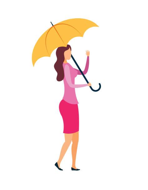 illustrazioni stock, clip art, cartoni animati e icone di tendenza di friendly lady with umbrella vector illustration - mockup outdoor rain