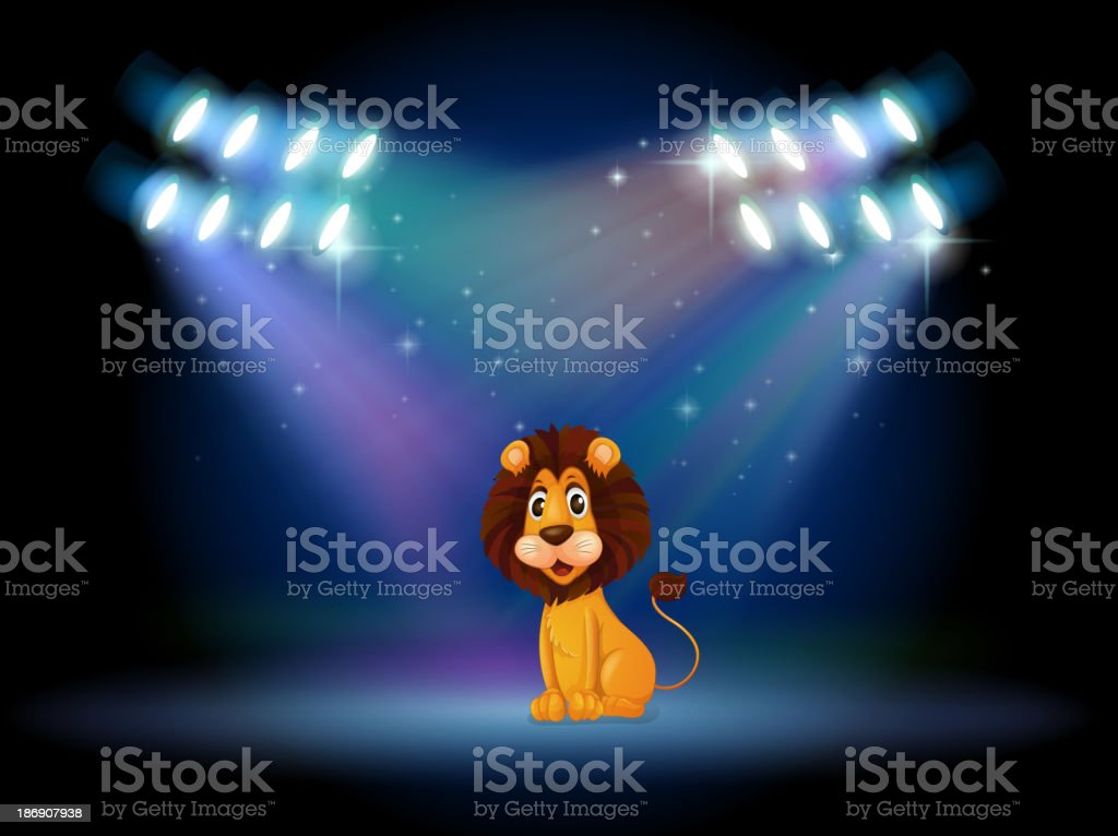 friendly lion at the center of stage royalty-free stock vector art