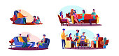 Friendly meeting illustration set. Children visiting grandpa, people talking in living room, friends enjoying party. Communication concept. Vector illustration for banners, posters, website design