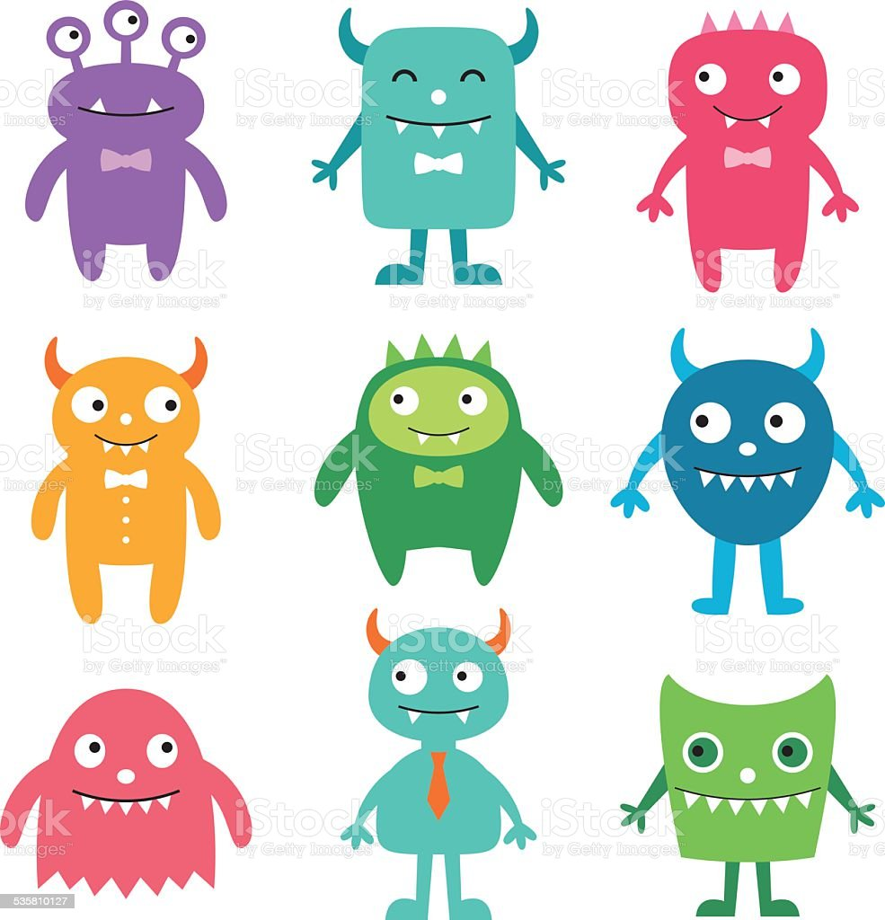 Friendly monsters vector set vector art illustration