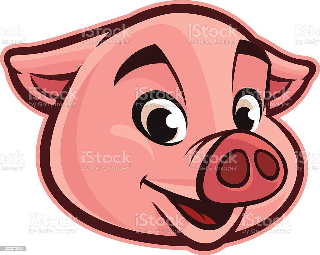 Friendly Pig Head vector art illustration