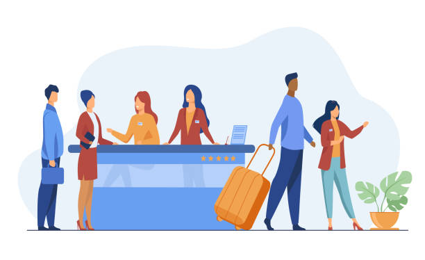 Friendly receptionists from hotel registration desk help clients Friendly receptionists from hotel registration desk help client vector illustration. People waiting in queue for consultation. Concierge talking with traveler concept for presentation slides airport clipart stock illustrations