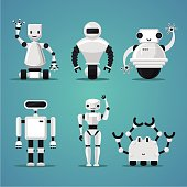 Friendly robots collection. Futuristic design. Electronic toys set.