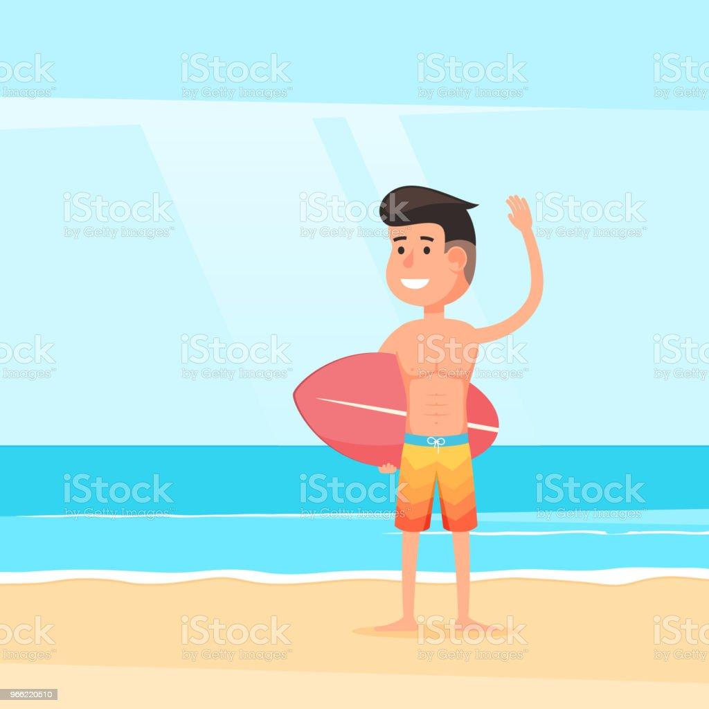 Friendly surfer on sandy beach vector art illustration