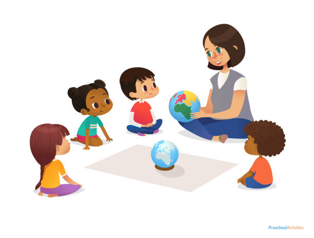 Friendly teacher demonstrates globe to children and tells them about continents. Woman teaches kids using materials during kindergarten lesson. Vector illustration for banner, website. Friendly teacher demonstrates globe to children and tells them about continents. Woman teaches kids using materials during kindergarten lesson. Vector illustration for banner, website preschool teacher stock illustrations