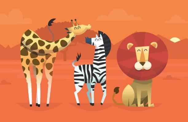freundliche tiere aus den tropen - giraffenhumor stock-grafiken, -clipart, -cartoons und -symbole