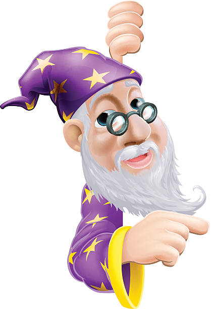 friendly wizard pointing - old man long beard cartoons stock illustrations, clip art, cartoons, & icons