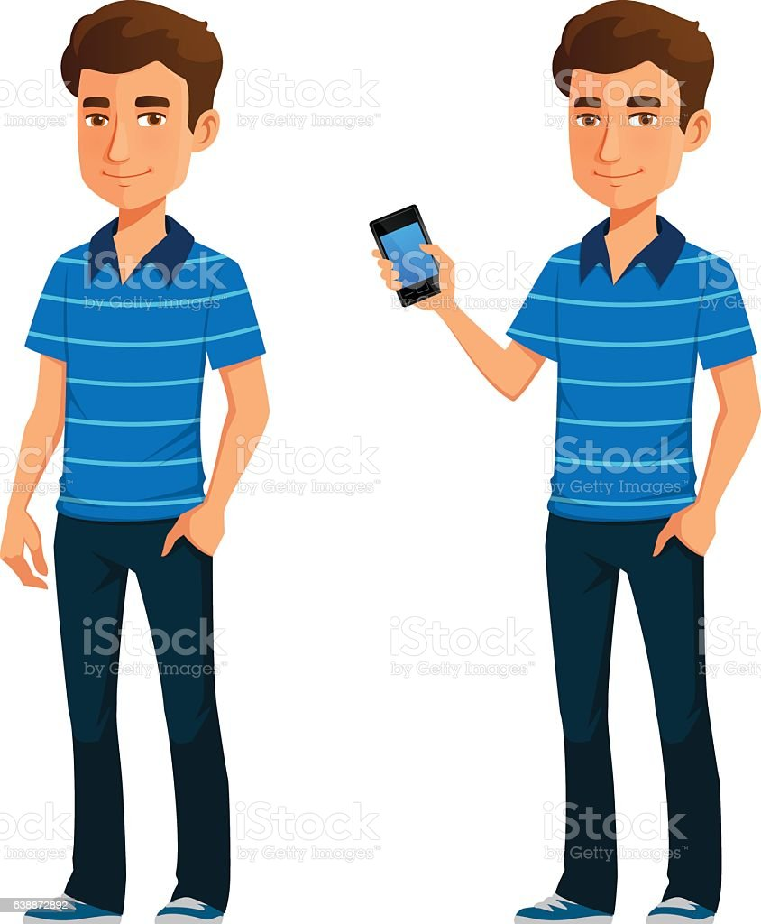 friendly young guy in casual clothes, holding a mobile phone vector art illustration