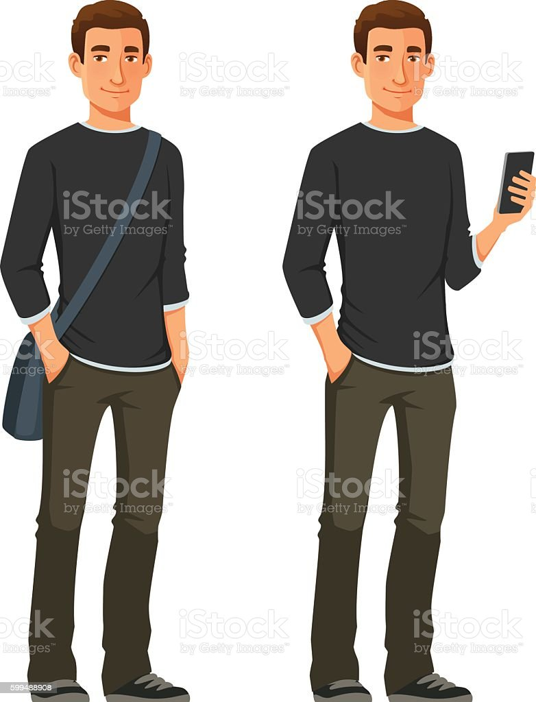 friendly young man in casual clothes vector art illustration