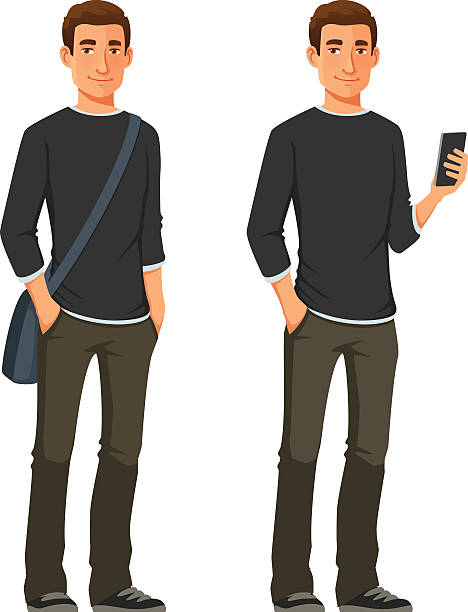 bildbanksillustrationer, clip art samt tecknat material och ikoner med friendly young man in casual clothes - fritidskläder