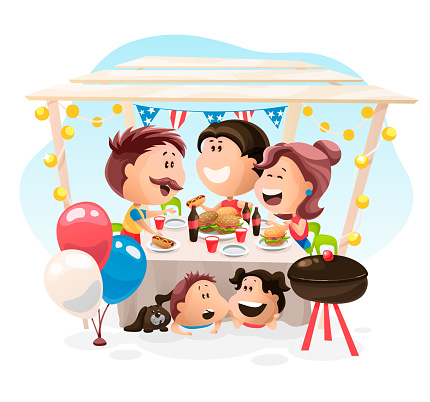 Friends And Family Dinner At The Independence Day In America Vector Illustration In Flat Cartoon Style — стоковая векторная графика и другие изображения на тему Барбекю