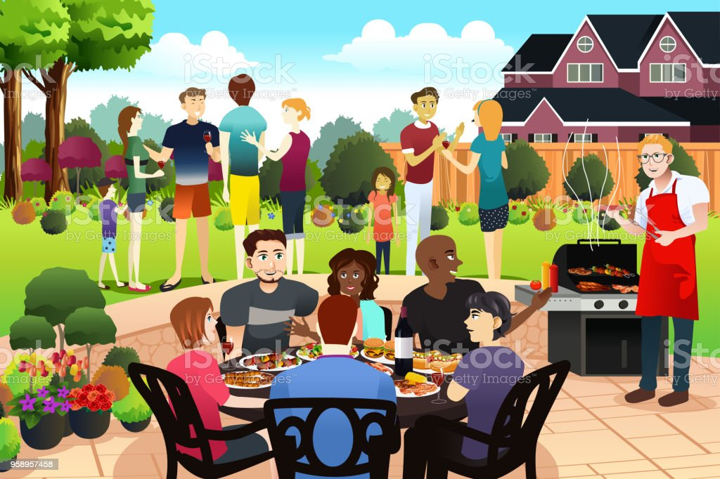 Friends and Family Gather Together Having BBQ Party in the Summer vector art illustration