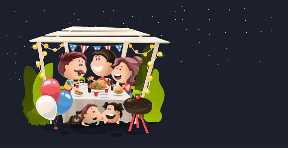 Friends And Family Late Night Dinner At The Independence Day In America Vector Illustration In Flat Cartoon Style — стоковая векторная графика и другие изображения на тему Бургер