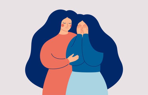 ilustraciones, imágenes clip art, dibujos animados e iconos de stock de apoyo a amigos y familiares. una joven consolando a su mejor amiga llorando. - hija