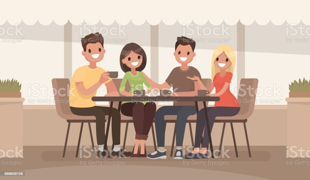 Friends are sitting at a table in a summer cafe. Vector illustration in a flat style - illustrazione arte vettoriale