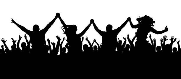 Amis à une silhouette de parti. Une foule de personnes lors d'un concert. - Illustration vectorielle