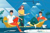 Friends at home vector illustration. Smart people sitting in living room with comfy chairs. Man in red shirt holding ceramic cup with hot beverage flat style concept