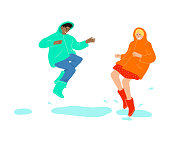 Hand drawn young smiling friends boy and girl in raincoats jumping in puddles and enjoying rainy weather over white background vector illustration. Rainy happiness concept