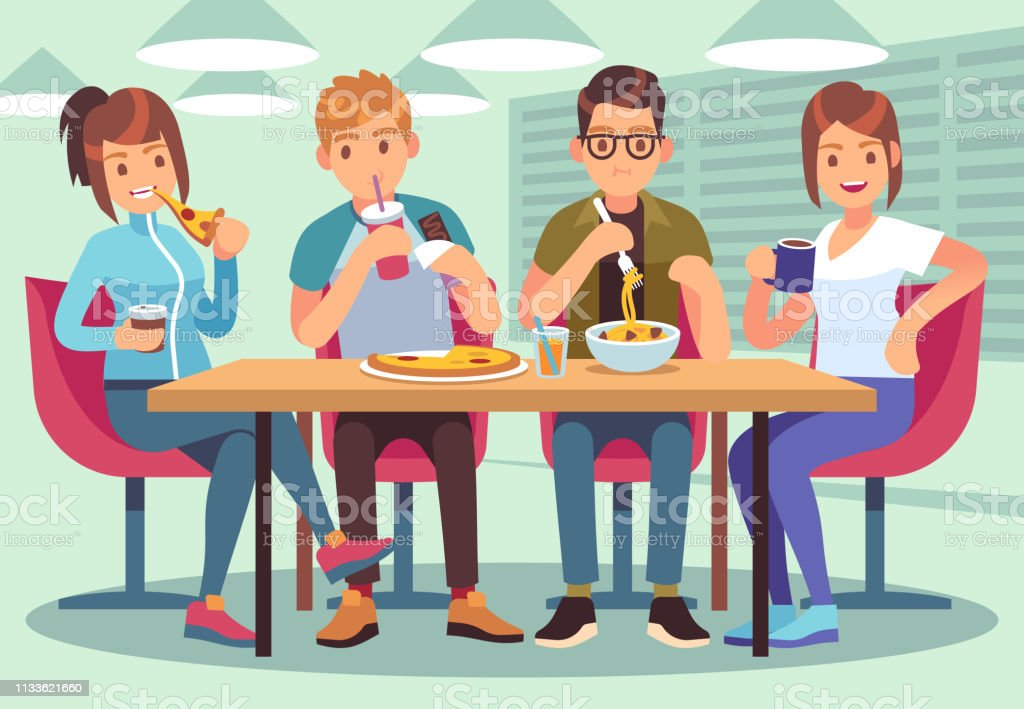 Friends cafe. Friendly people eat drink lunch table fun seating friendship young guys meeting restaurant bar flat image