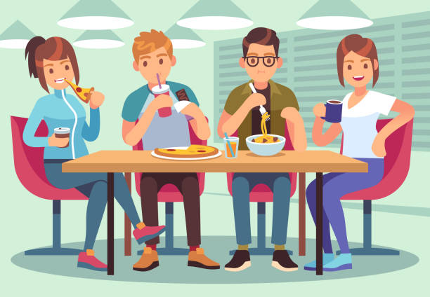 Friends cafe. Friendly people eat drink lunch table fun seating friendship young guys meeting restaurant bar flat image Friends cafe. Friendly people eat drink lunch table fun seating friendship young guys meeting restaurant bar flat vector illustration essen stock illustrations
