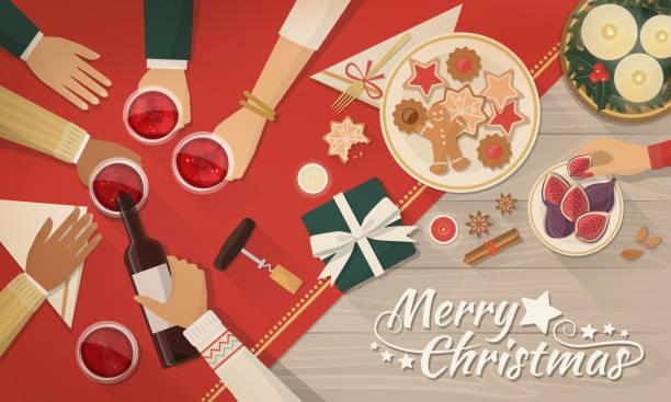 ilustrações de stock, clip art, desenhos animados e ícones de friends celebrating christmas together - christmas table