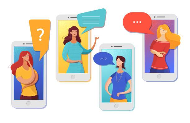 freunde chatten online-vektorabbildung - frau handy stock-grafiken, -clipart, -cartoons und -symbole