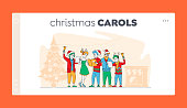 Friends Company or Happy Family Caroling at Eve Night Landing Page Template. Christmas Characters in Hats Singing Xmas Carols Holding Song Books and Ringing Bell. Linear People Vector Illustration