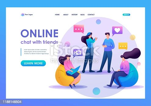 Friends correspond online, chat, share news and impressions, friendship. Flat 2D character. Landing page concepts and web design.