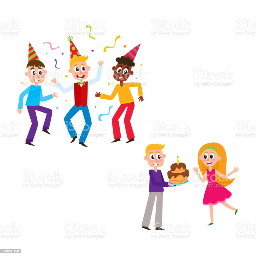 friends dancing boy giving birthday cake to girl stock vector art rh istockphoto com