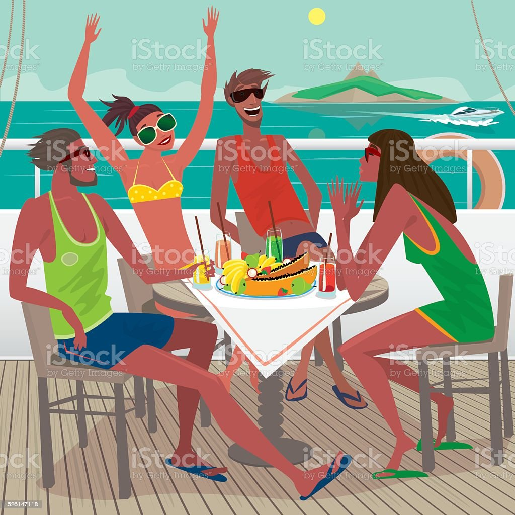 Friends eating breakfast on the deck of a ship vector art illustration
