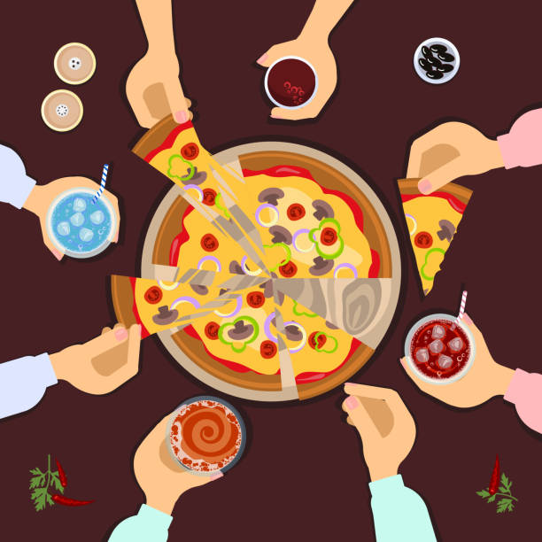 Best Friends Eating Pizza Illustrations Royalty Free Vector