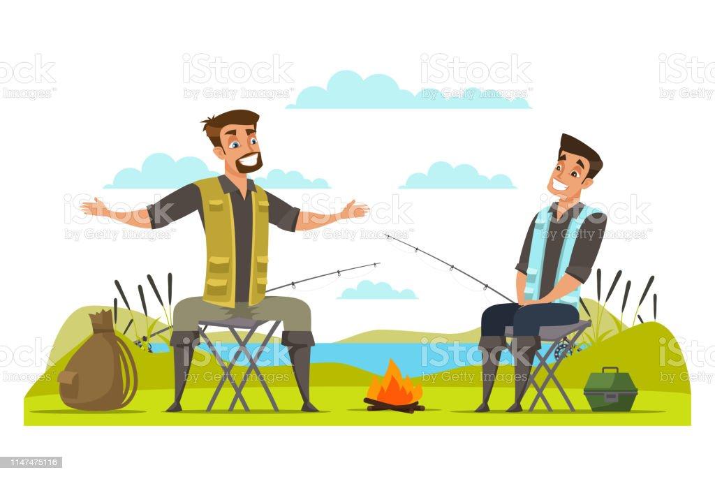 Freunde, die am Ufer fischen Vektorabbildung – Vektorgrafik