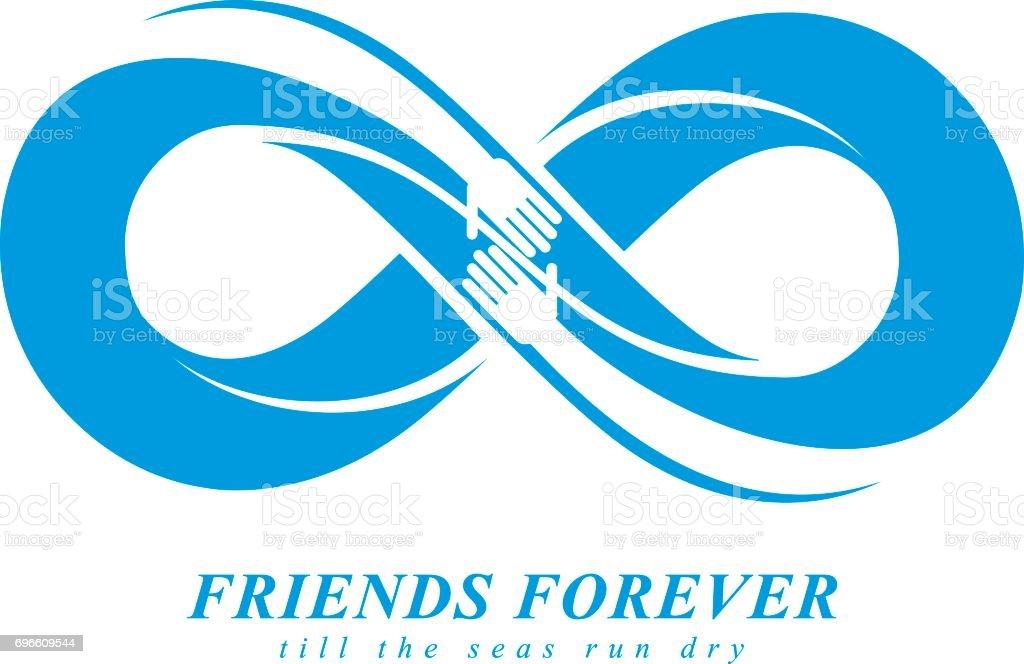 Friends Forever Everlasting Friendship Unusual Vector Emblem