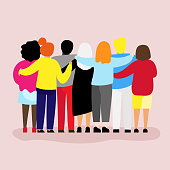 Friends forever. Friendly group of people stand and hugging together with their backs. Bright colored illustration for event celebration Greeting card Startup business Web banner
