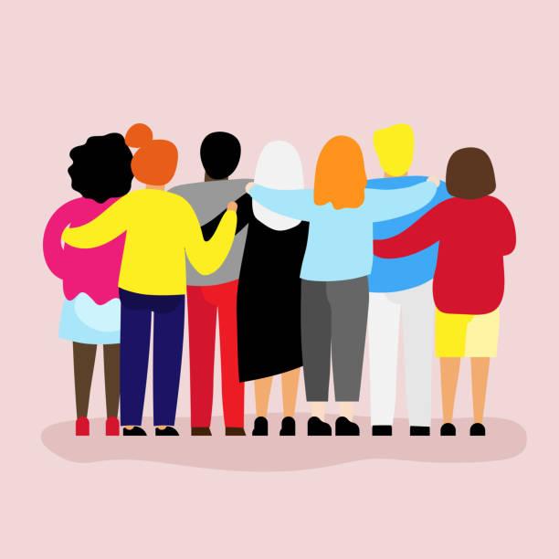 ilustraciones, imágenes clip art, dibujos animados e iconos de stock de amigos para siempre. agradable grupo de personas abrazándose - soporte conceptos