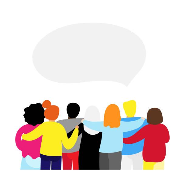 Freunde für immer. Freundliche Gruppe von Menschen Stand und umarmt zusammen – Vektorgrafik