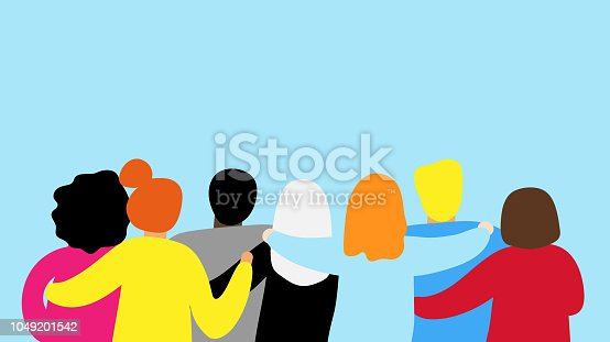 istock Friends forever. Friendly group of people stand and hugging together 1049201542