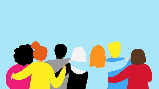 Friends forever. Friendly group of people stand and hugging together clipart