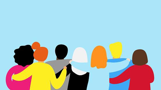 永遠的朋友友好的一群人站在一起擁抱在一起向量圖形及更多一起圖片