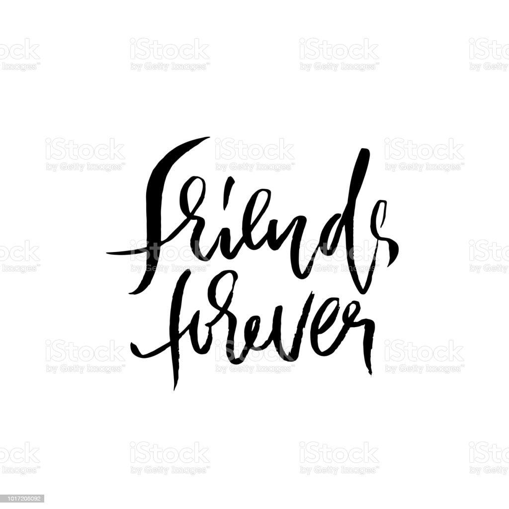 Vetores De Amigos Para Sempre Letras De Escova Seca Mão