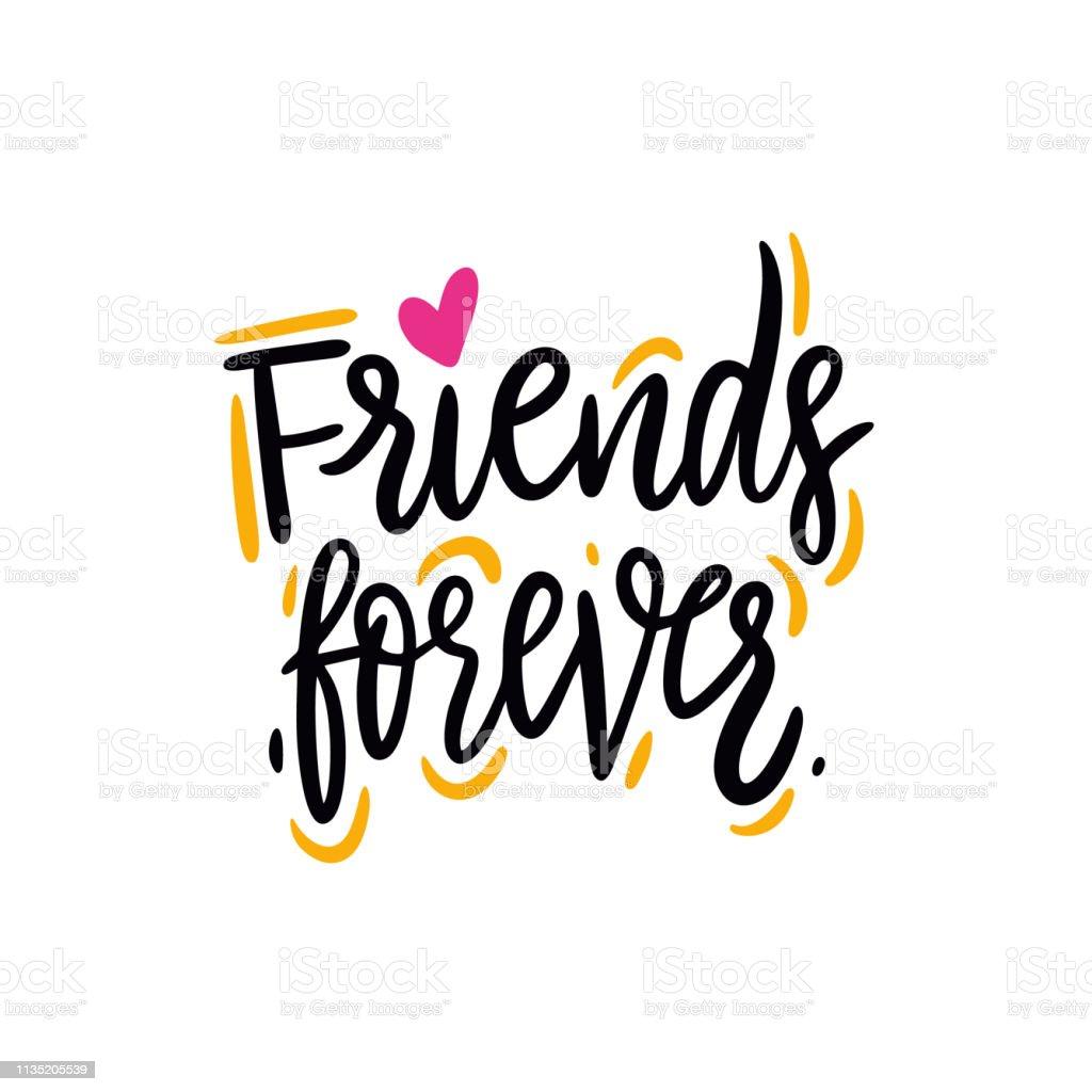Vetores De Amigos Para Sempre Frase Desenhada Mão Da