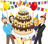 Friends give a big cake with candles on a white background.