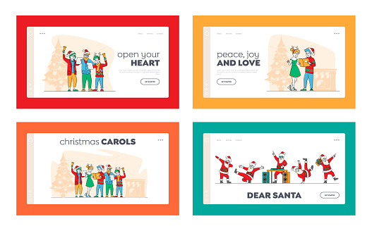 Friends, Happy Family Caroling at Eve Night Landing Page Template Set. Christmas Characters in Hats Singing Xmas Carols