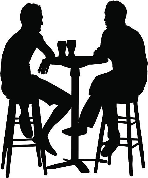 Friends Having Drinks vector art illustration